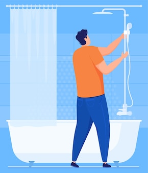 Trabalho de canalização. um encanador conserta um chuveiro no banheiro. ilustração