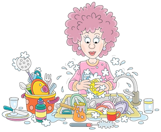 Trabalho de casa diário: uma jovem bonita lavando pratos