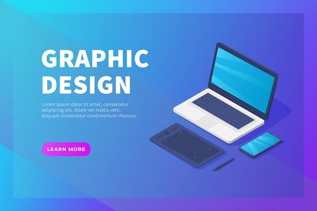 Trabalho de design gráfico para designer profissional para modelo de site ou página inicial de destino