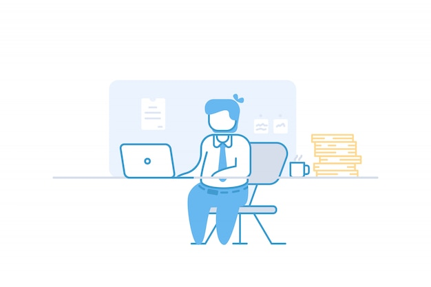 Trabalho de empresário no laptop