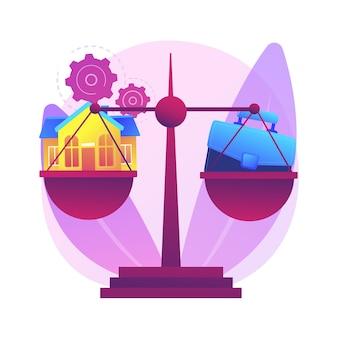 Trabalho de equilíbrio e ilustração do conceito abstrato de família. equilíbrio entre trabalho e vida, família feliz, pai e mãe de negócios em casa, filhos no escritório, gerenciamento de tempo, freelance