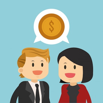Trabalho de equipa de negócios falando sobre dinheiro