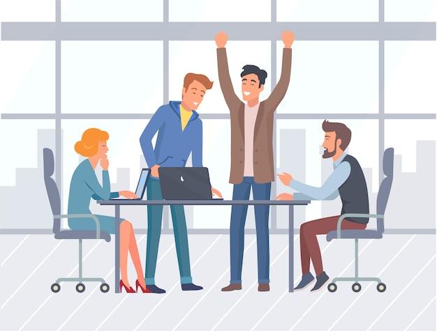 Trabalho de equipa, interior de escritório e trabalhadores, negócios