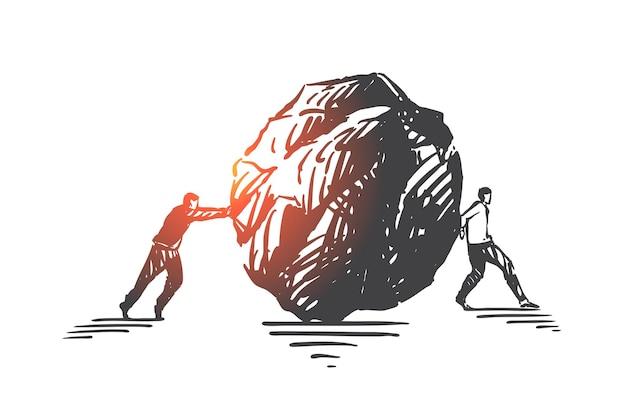 Trabalho de equipe ruim, ilustração de esboço de conceito mal-entendido