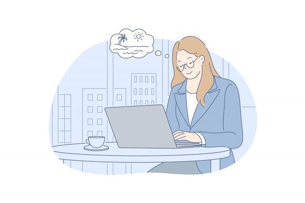Trabalho de escritório, sonho, férias de verão, conceito do negócio