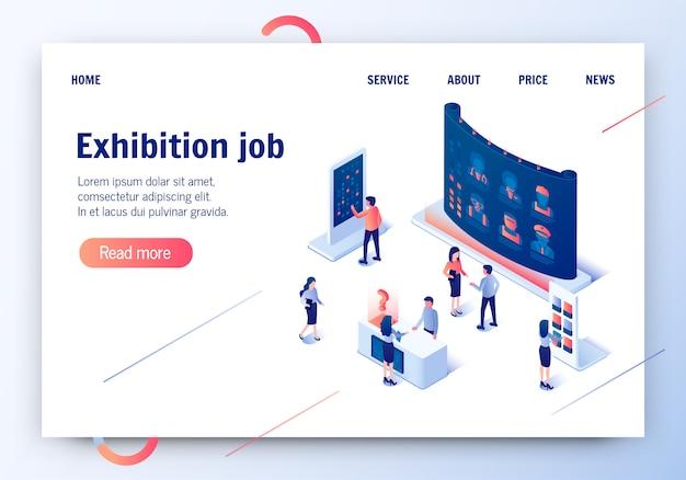 Trabalho de exposição. banner horizontal de oferta de profissão