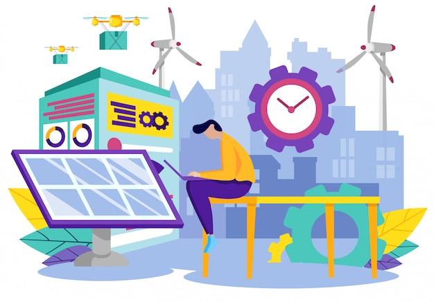 Trabalho de homem no laptop. uso solar da planta battery.vector