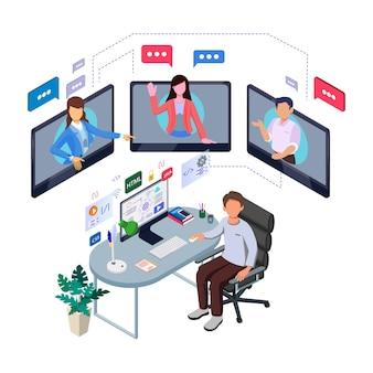 Trabalho de ilustração em casa. trabalho em equipe isométrico distanciando a comunicação. personagem de trabalhador de negócios isométrica coleção.
