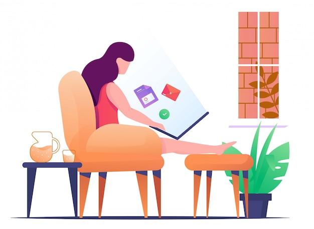 Trabalho de mulher em casa com relaxar ilustração plana