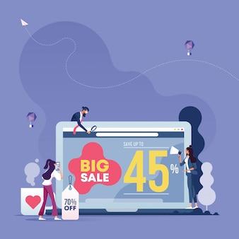 Trabalho de negócios e publicidade online. Vetor Premium