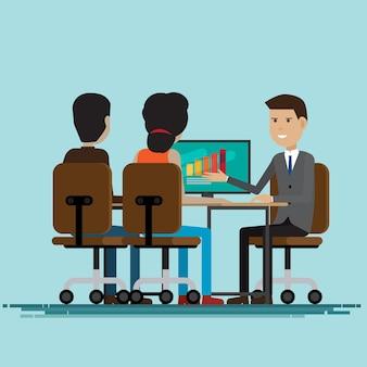 Trabalho de negócios junto reunião de negociações