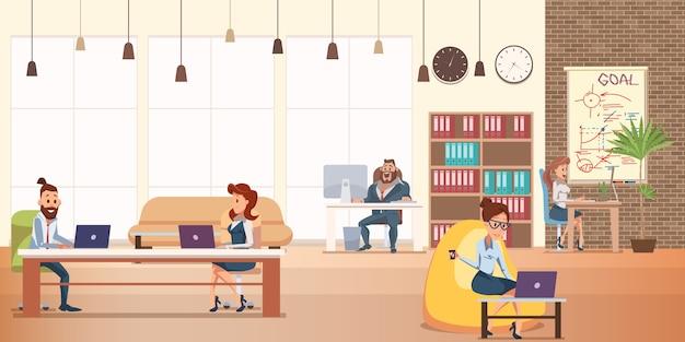 Trabalho de personagem de escritório no coworking criativo moderno Vetor Premium