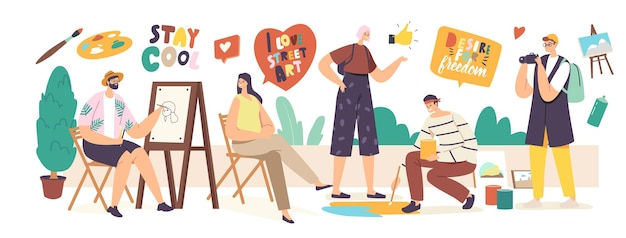Trabalho de personagens de artistas de rua. homem, pintura retrato de menina sentada na frente do cavalete. pincel de exploração do pintor, desenho no asfalto. hobby criativo ao ar livre, arte. ilustração em vetor desenho animado