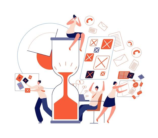 Trabalho de prazo de estresse. personagens da equipe de escritório, má disciplina e horas extras. empregado emocional frustrado, conceito de vetor abstrato de trabalho tardio. equipe de prazo de entrega do escritório, ilustração de projeto de trabalho em tempo