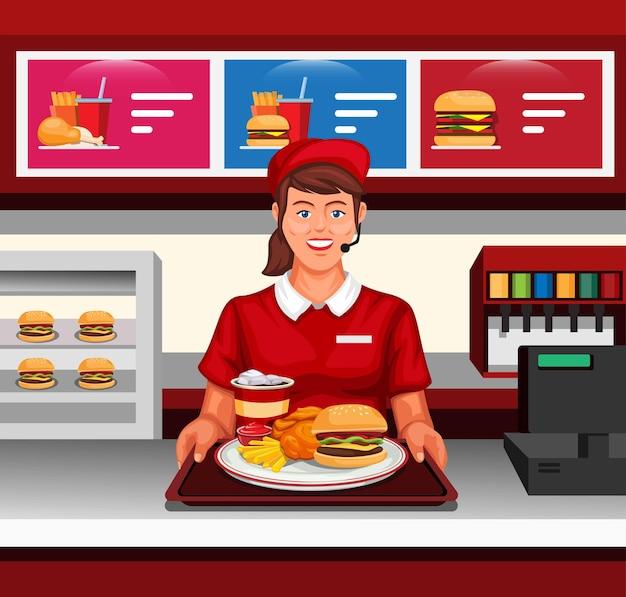Trabalho de restaurante de fast food feminino servido de acordo com o conceito do cliente na ilustração dos desenhos animados