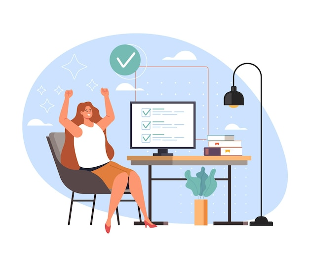 Trabalho de tarefa concluído e secretária de negócios feliz mulher trabalhadora, ilustração de desenho animado
