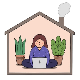 Trabalho de telecomutação do conceito de casa