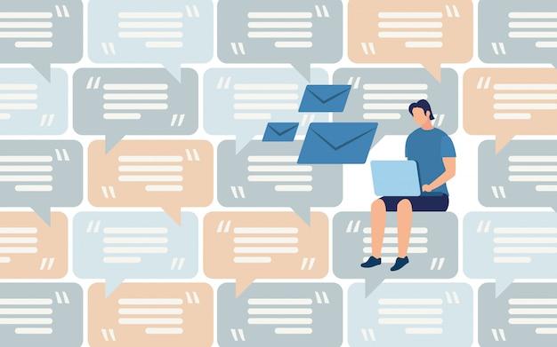 Trabalho distante, comunicação na rede social