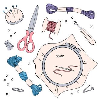 Trabalho do bordado ilustração set para costura e bordado