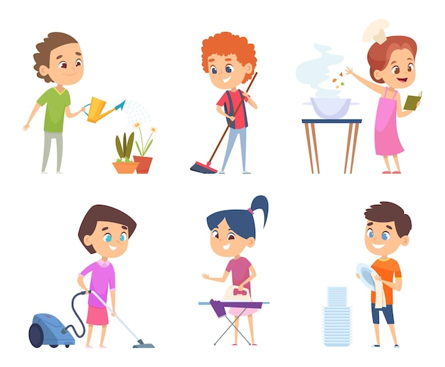 Trabalho doméstico de crianças. crianças ajudando na limpeza dos pais