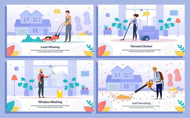 Trabalho doméstico, empresa de limpeza vector plana ilustração conjunto
