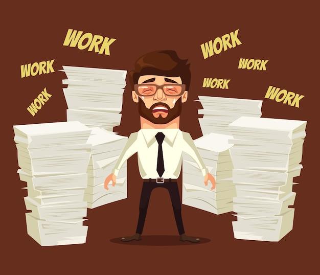 Trabalho duro. caráter de homem ocupado chora e grita. ilustração plana dos desenhos animados