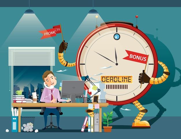 Trabalho duro do homem de negócios no escritório. robô relógio gigante motivá-lo a trabalhar.