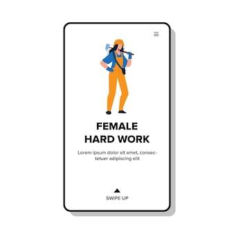 Trabalho duro feminino na construção ou vetor de fábrica. jovem mulher vestindo uniforme de profissão e capacete, segurando o martelo no trabalho duro feminino. personagem trabalhando no trabalho web flat cartoon ilustração