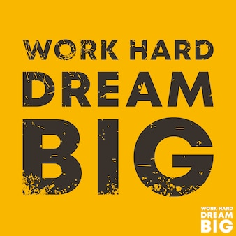 Trabalho duro sonho grande - cite o modelo motivacional de quadrados. adesivo de citações inspiradas.