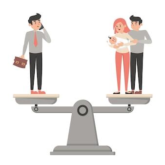 Trabalho e harmonia de equilíbrio de vida entre carreira e família