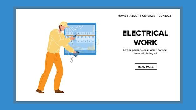 Trabalho elétrico com vetor de painel do sistema elétrico. reparar o homem, verificando a tensão com o testador, serviço profissional de trabalho elétrico. personagem com dispositivo de teste digital ilustração plana dos desenhos animados da web