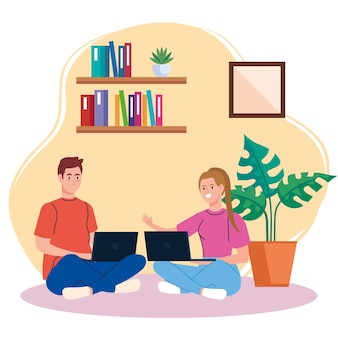 Trabalho em casa, casal freelancer sentado no chão