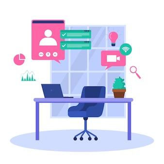 Trabalho em casa, computador, internet, negócios online, freelancer
