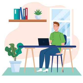Trabalho em casa, jovem freelancer com laptop na mesa