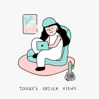 Trabalho em casa, personagem pandêmico de coronavírus