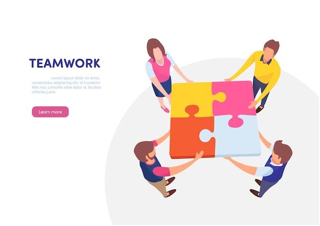 Trabalho em equipe bem sucedido conceito juntos.