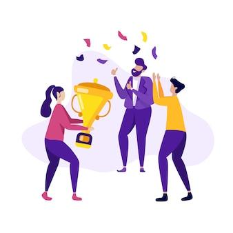 Trabalho em equipe bem sucedido negócio vitória banner