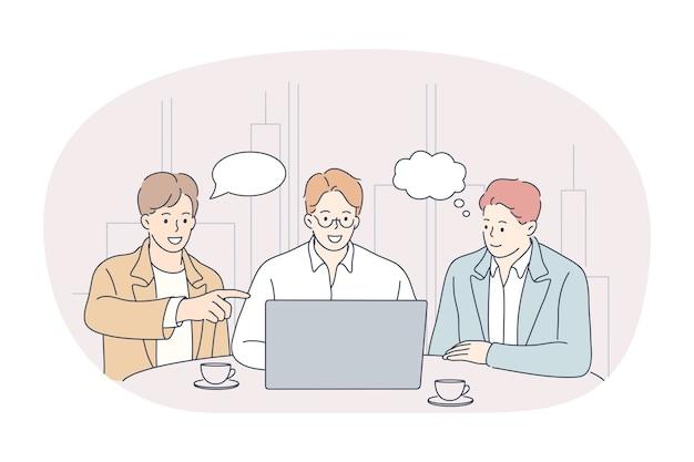 Trabalho em equipe, brainstorming, comunicação empresarial sobre o conceito de inicialização.