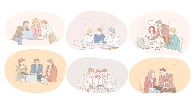Trabalho em equipe, brainstorming, discussão, cooperação, conceito de negociações.