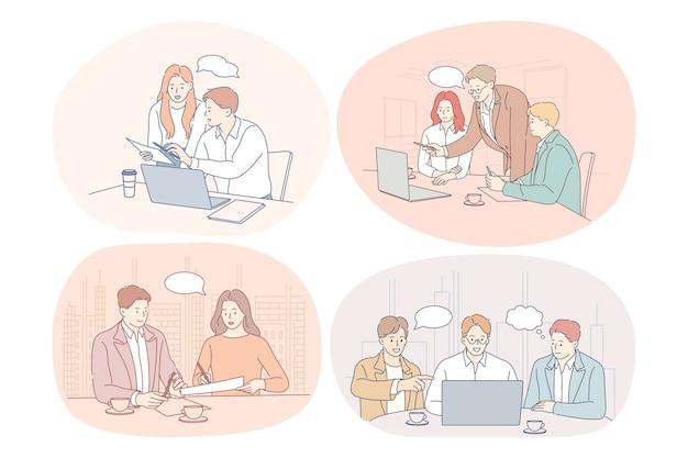 Trabalho em equipe, brainstorming, discussão, negócios, inicialização, conceito de negociações.