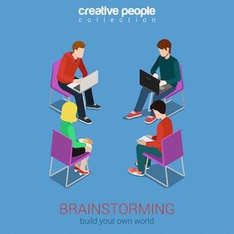 Trabalho em equipe, brainstorming, grupo, pessoas, isometric, conceito, ilustração