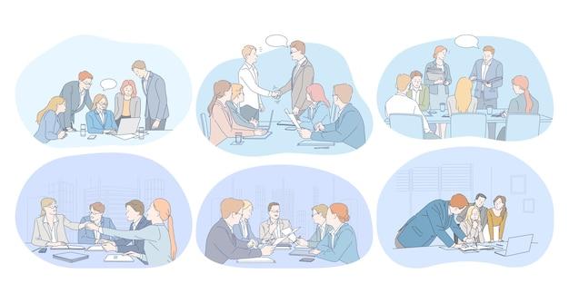 Trabalho em equipe, brainstorming, negociações, acordo, negócio, conceito de apresentação.