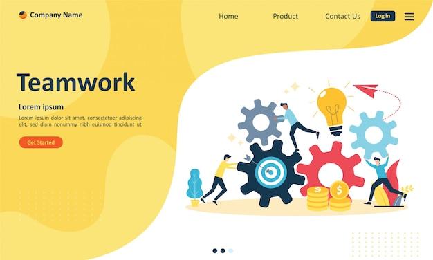 Trabalho em equipe com pessoas conectando engrenagem para página de destino da web
