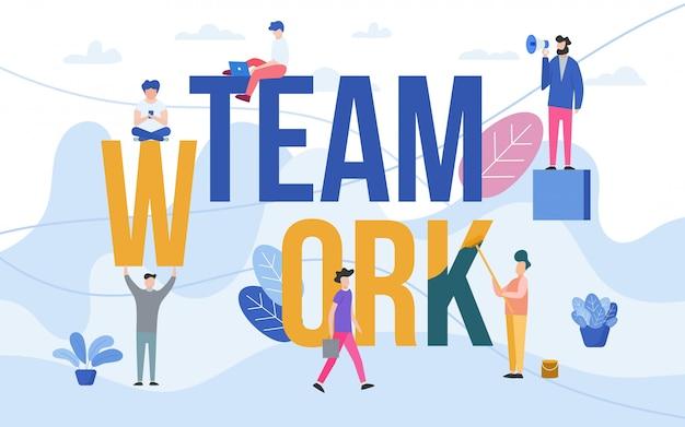 Trabalho em equipe com pessoas que trabalham em equipe