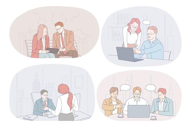 Trabalho em equipe, comunicação, negócios, cooperação, discussão, conceito de relatório. parceiros de negócios
