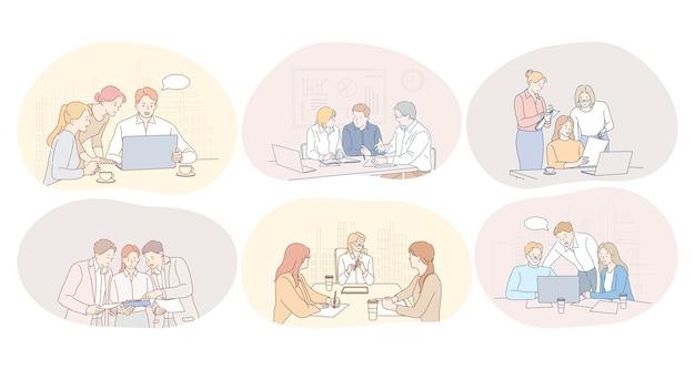 Trabalho em equipe, comunicação, reunião, discussão, conceito de colaboração. parceiros de negócios
