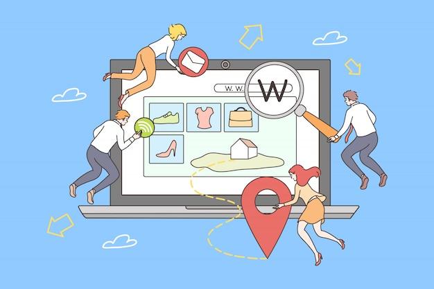 Trabalho em equipe, conceito de desenvolvimento de web site