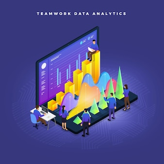 Trabalho em equipe conceito de negócios de pessoas trabalhando gráfico de gráfico de análise de dados de desenvolvimento