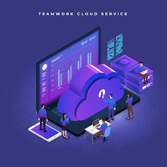 Trabalho em equipe conceito de negócios de pessoas trabalhando para desenvolvimento de dados de tecnologia de nuvem isométrica