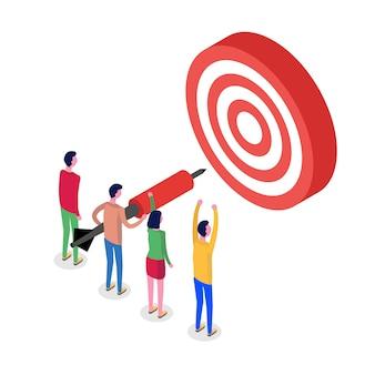 Trabalho em equipe, conceito isométrico objetivo bem sucedido. alvo e flecha. ilustração.